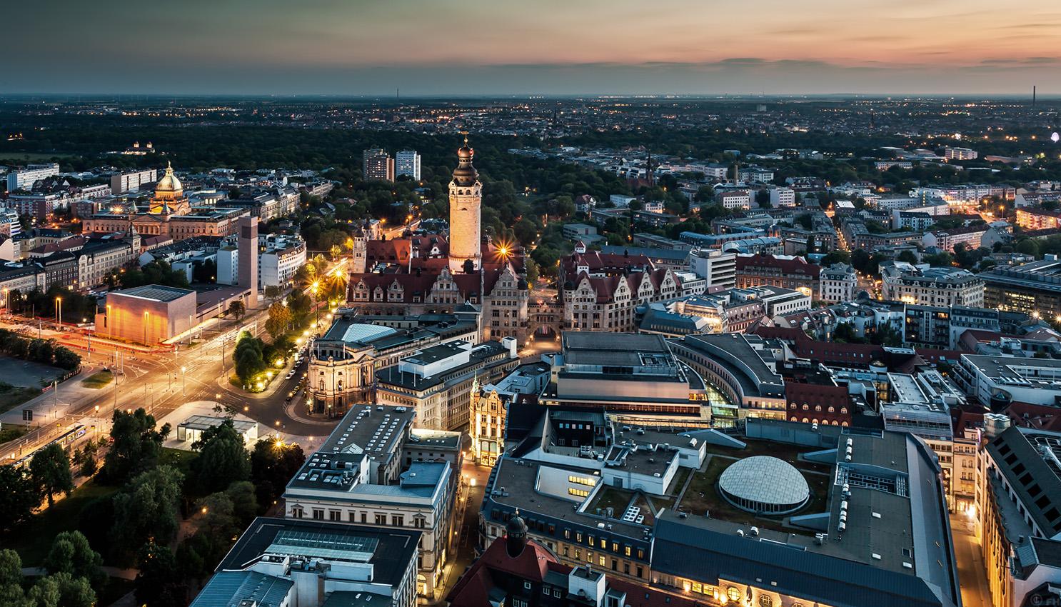 fhmedien.de | Leipzig, von oben, Innenstadt, Bahnhof